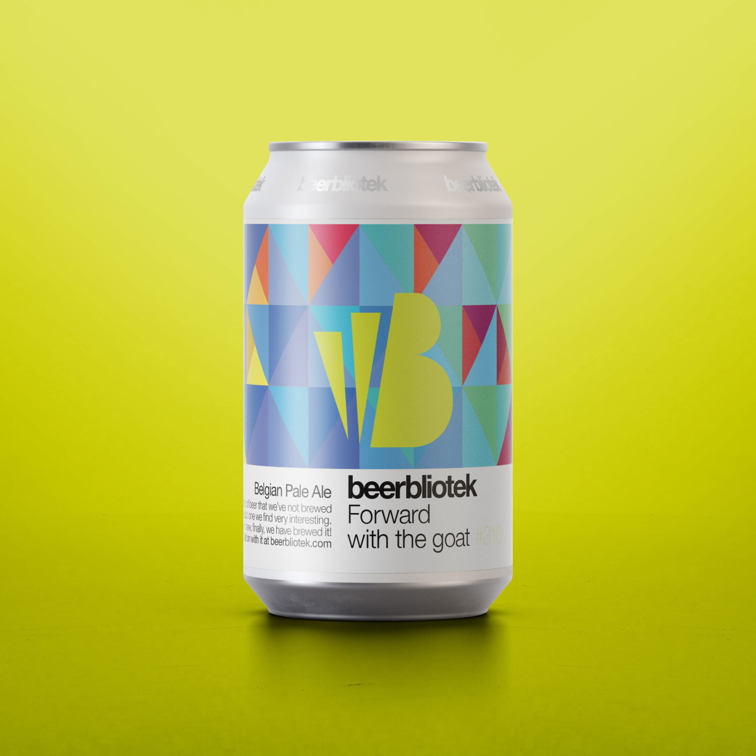 A marketing can packshot of Forward with the goat, a Belgian Pale Ale, brewed by Swedish Craft Brewery Beerbliotek.