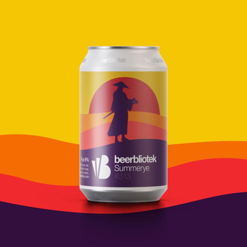 A marketing can packshot of Summerye, a Rye IPA, brewed in Gothenburg, by Swedish Craft Brewery Beerbliotek.